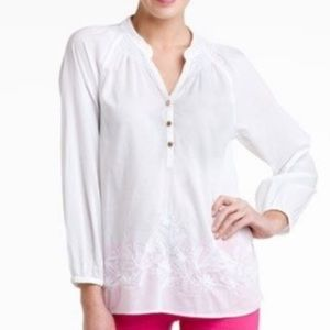Lilly Pulitzer Elsa Blouse White Embroidered Small